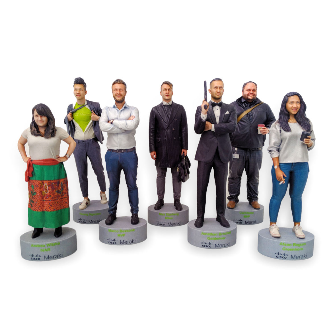 my3Dtwin, 3D Printed Event Figurines on a custom base meraki cisco