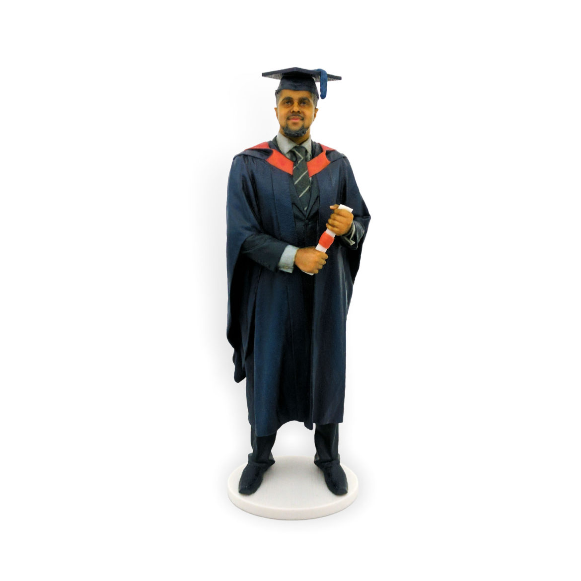 my3Dtwin, 3D Printed Graduation Figurine of a man with tie and scroll in hands