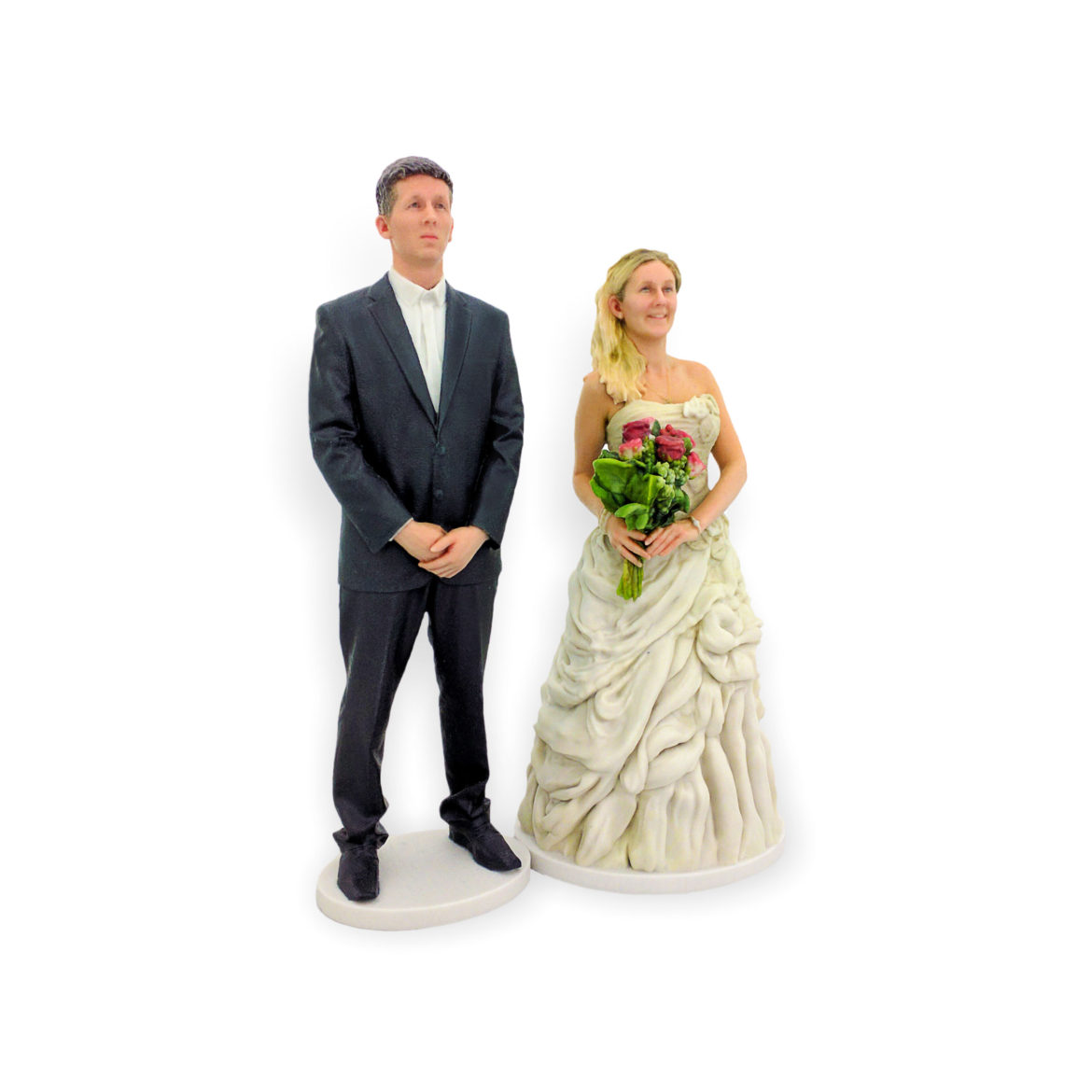 my3Dtwin, Custom Wedding Cake Topper Groom and Bride with Bouquet