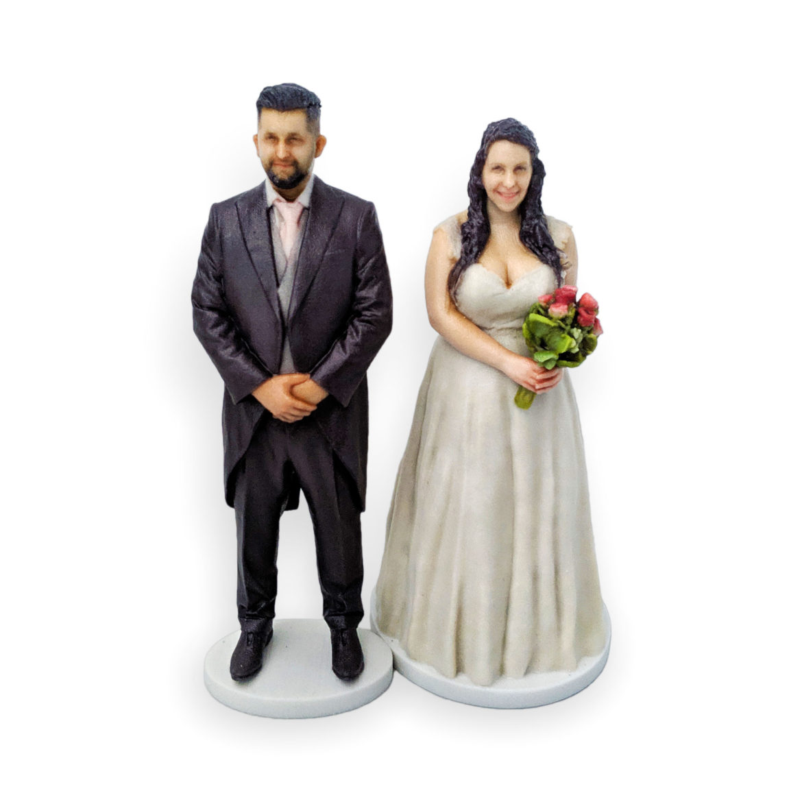 my3Dtwin, Custom Wedding Cake Topper of a groom and bride with bouquet